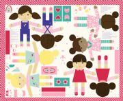 Moda Fabrics - Best Friends Forever - Large Doll Panel